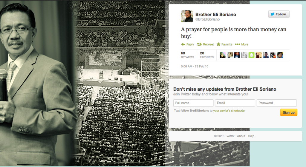 One of the tweets @BroEliSoriano posted after an earthquake claimed many lives in Chile in February 2010.