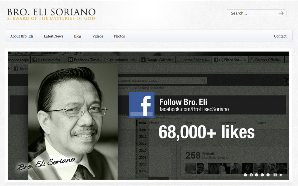 Follow Bro. Eli Soriano on Facebook for updates to his site and more.