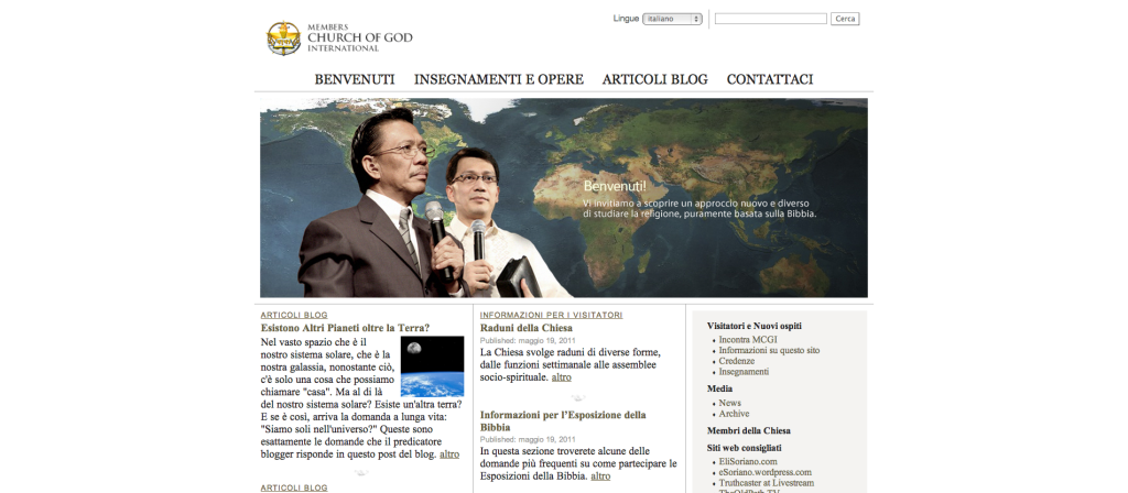 Benvenuti! This is the Italian version of the official website of the Members Church of God International.