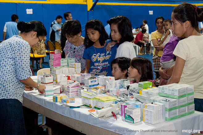 The Simultaneous Medical Mission on February 24, 2013 included giving away free medicines as prescribed by the doctors prescriptions.