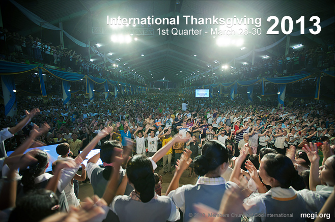 At the ADD Convention Center in Pampanga, Philippines, members stand up to praise God during an International Thanksgiving.
