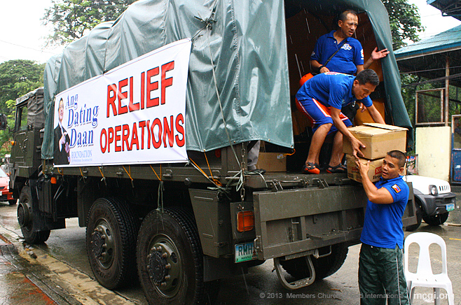 MCGI and UNTV conducted relief operations in barangays in Quezon City, Philippines on August 21, 2013 to displaced families due to Typhoon Maring floods.