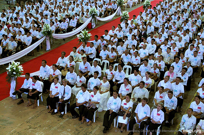 At the ADD Convention Center, couples participate in the Mass Wedding of MCGI on November 3, 2013.