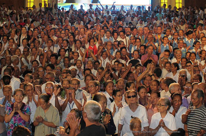 Senior citizens of the Members of the Church of God International offer thanks in Apalit, Pampering and all over the world for God's loving kindness through the many years of service.