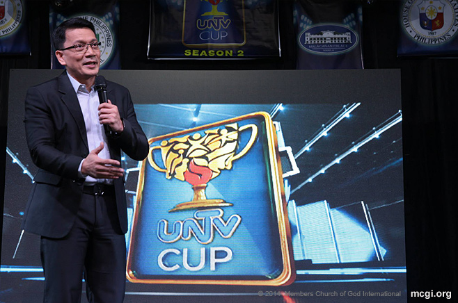 UNTV CEO Kuya Daniel Razon speaking at the kickoff event of Season 2 of the UNTV Cup.