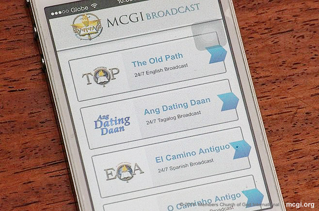 MCGI's flaghsip program, The Old Path, can be watched in Filipino, English, Portuguese and Spanish via the MCGI Broadcast App for iOS and Android users.