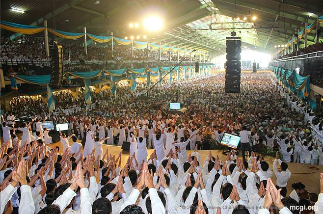 MCGI members at the ADD Convention Center in Apalit, Pampanga -- the usual host venue for Thanksgivings where over 1,280 satellite centers connect to.