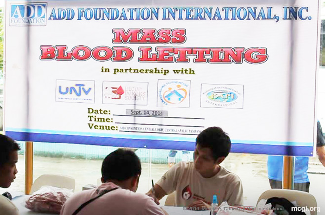 MCGI brethren were in full support in a Mass Blood Drive held in numerous remote points across the country last September 14, 2014. In partnership with the Philippine Blood Donors Society, a total of 1,500 donors took part in this public service activity. (Photo courtesy of Photoville International)
