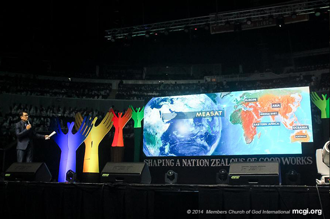During his keynote speech on The Old Path's 34th Anniversary on October 30, 2014, Bro. Daniel Razon told the jam-packed Smart-Araneta Coliseum of the various satellite services through which The Old Path is broadcast 24/7. (Photo courtesy of PVI)