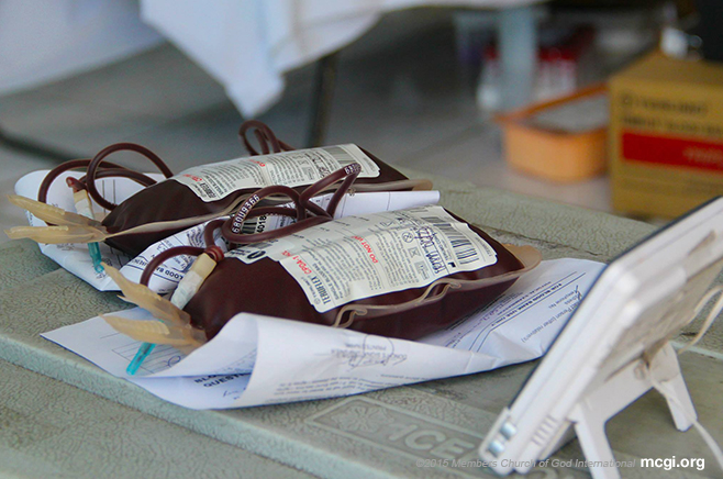 Blood bags lie atop a portable cooler before being stored and brought to the Philippine Blood Disease and Transfusion Center for further processing. (Photo courtesy of PVI)
