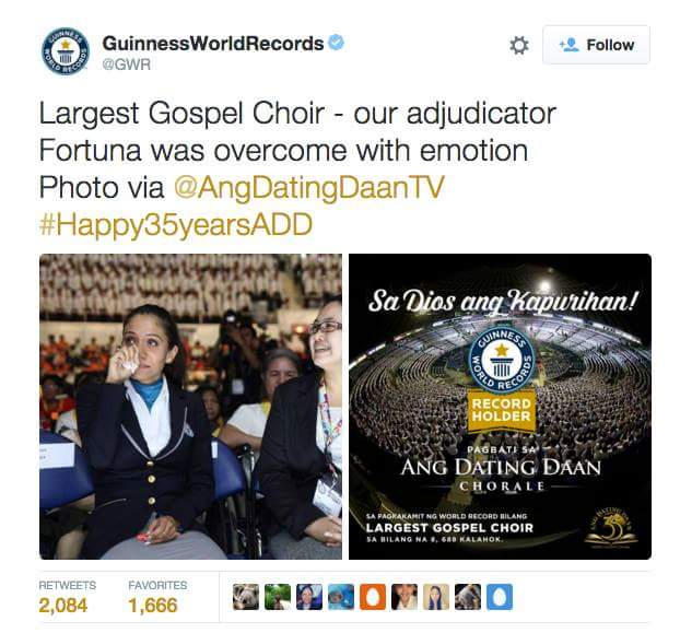 The tweet of @GWR, the official Twitter handle of the Guinness World Records, about the Ang Dating Daan Chorale's achievement and the overwhelmed reaction of its adjudicator, Ms. Fortuna Burke Melhem.