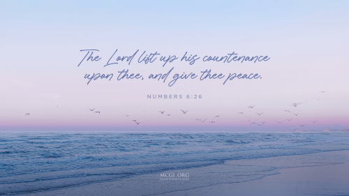 The Lord lift up his countenance upon thee, and give thee peace.  - Numbers 6:26